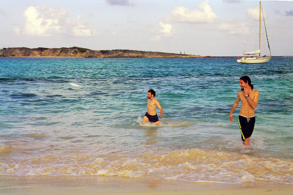 EJ and Jason playing Frisbee, Orient Beach, Saint Martin — December